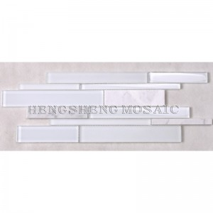 HSD131 Hot Sale senaste design Vit Carrara Marmor Blandat glas Mosaik Kök Backsplash Subway Tile